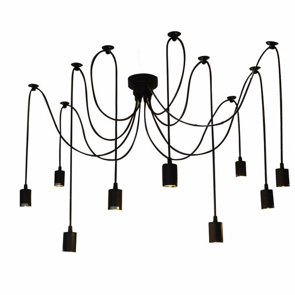 Lixada 9 Arms E27 DIY Ceiling Spider Pendant Lamp Shade Light Antique Classic Adjustable Retro Chandelier Dining Hall Bedroom Home Lighting Fixture