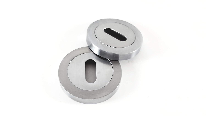 Door Lock Keyhole Escutcheon Standard, Chrome Bathroom Turn Satin /& Polished Chrome Finish