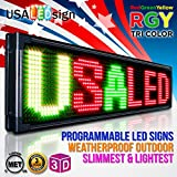 """LED Signs 40"""" X 15"""" Tri-color Bright Digital Programmable Scrolling Message Display / Business Tools"""