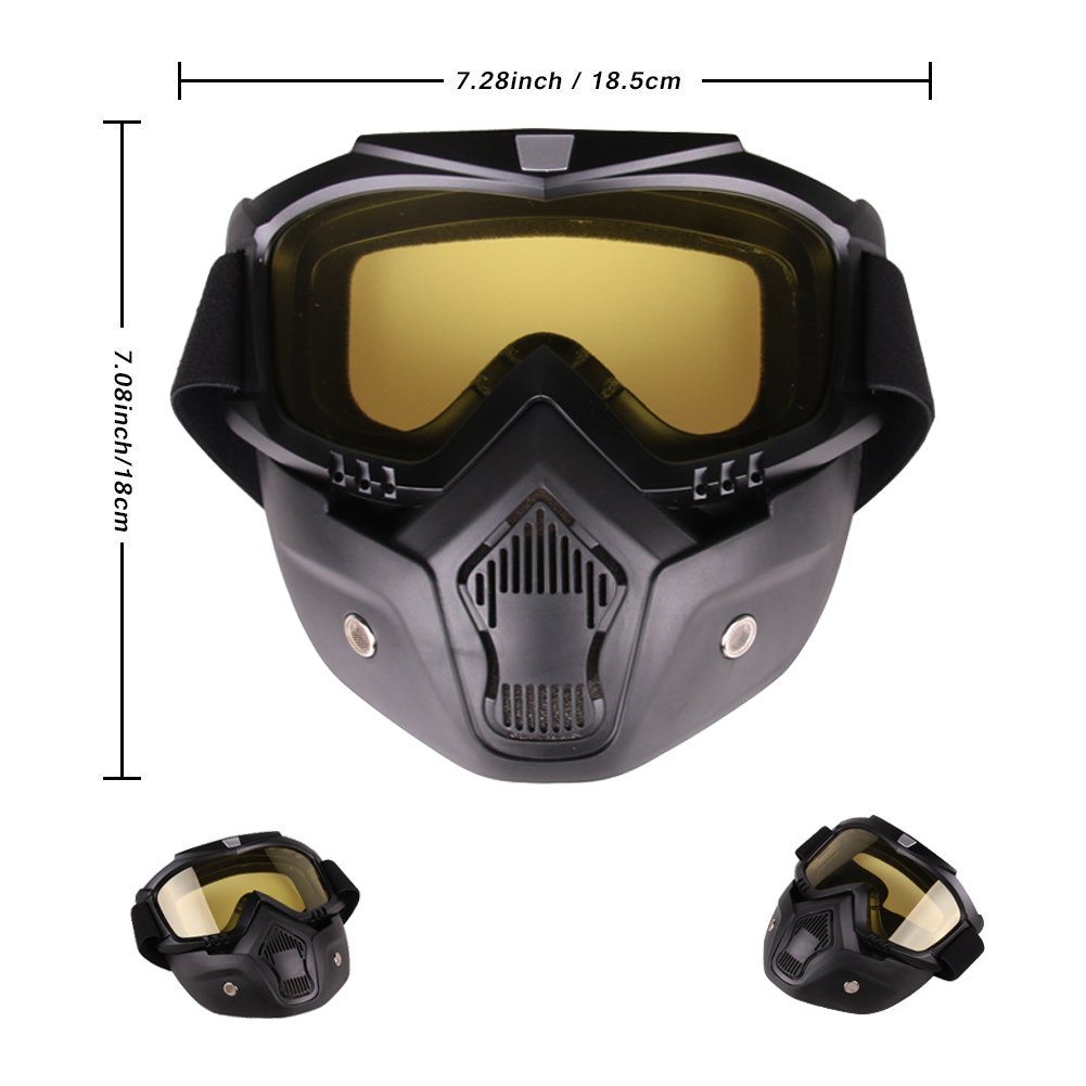 PiscatorZone Goggles Mask Tactical Goggles with Detachable Face Mask for Cycling Skiing Outdoor CS Paintball (Yellow) by PiscatorZone