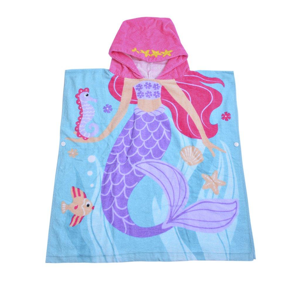 SearchI 32 Yarns Long-staple Cotton Kids Hooded Poncho Towel, Mermaid Cute Cartoon Beach Pool Bath Towel for Girls Blue Purple Pink