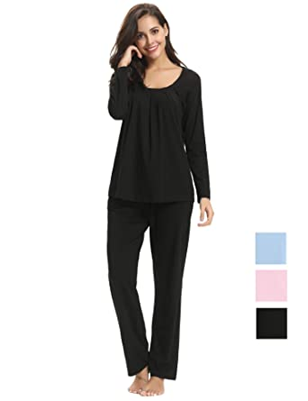 Hawiton Women s Long Sleeve Pajamas Set Cotton PJ Lounge Nightgowns with  Pockets Black 915f5e1245fd