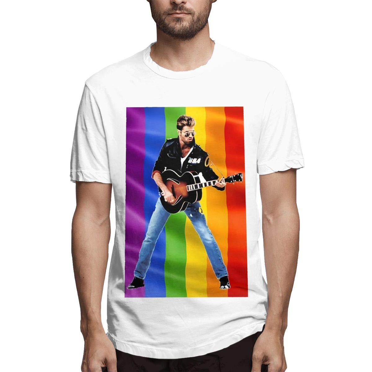 George Michael,Funny and Cool Mens Short-Sleeved T-Shirt White