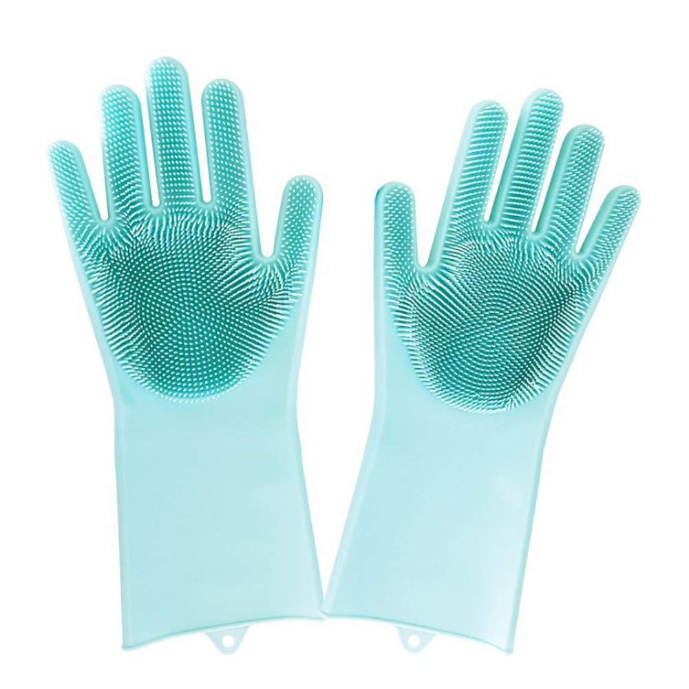 Slendima 1 Pair Soft Silicone Dish Washing Gloves,Eco-Friendly Scrubber,Useful Home Cleaning Accessory - 13.58'' x 6.10'' Blue