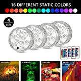 Submersible LED Lights Remote Controlled RGB Battery Operated Pool Lights for Aquarium, Vase, Halloween, Wedding , Xmas Party, Pond, Pool , Festival Decoration Lighting (4 Sets )