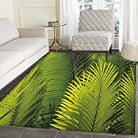 Nature Print Area rug Tropical Foliage Pattern with Exotic Leaves Palm Tree Photography Hawaii Greens Indoor/Outdoor Area Rug 3x4 Fern Green
