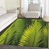 Nature Non Slip Rugs Tropical Foliage Pattern with Exotic Leaves Palm Tree Photography Hawaii Greens Door Mats for inside Non Slip Backing 4'x5' Fern Green