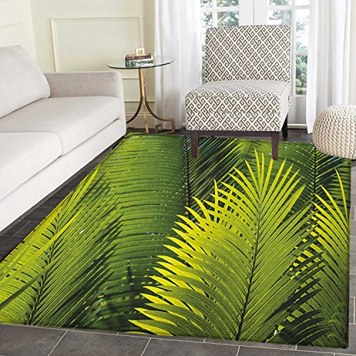 Nature Non Slip Rugs Tropical Foliage Pattern with Exotic Leaves Palm Tree Photography Hawaii Greens Door Mats for inside Non Slip Backing 4'x5' Fern Green by smallbeefly
