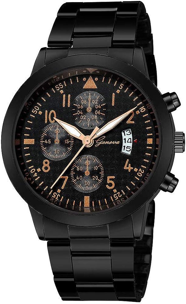 Leedy - Reloj de pulsera analógico para mujer (mecanismo de cuarzo, correa de acero inoxidable, esfera deportiva)