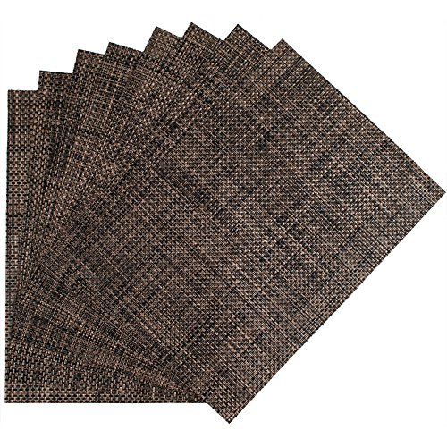 Benson Mills Longport Woven Vinyl Placemat, Tobacco, 13 x 18, Set of 8 (Rectangle Placemat)