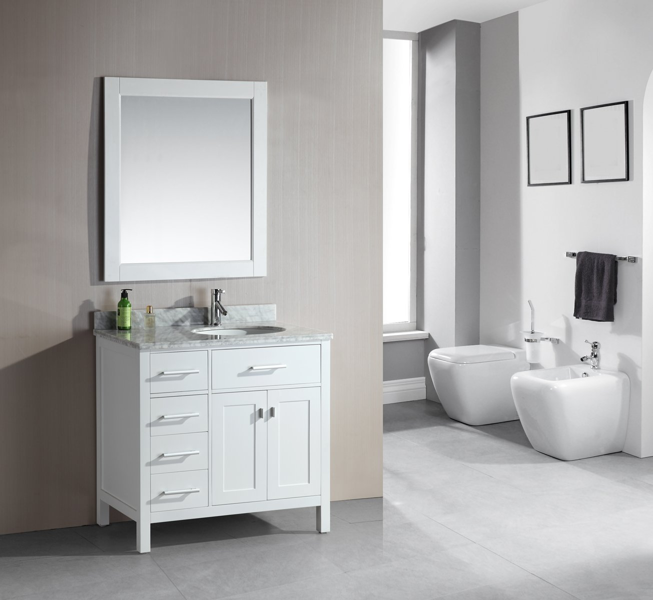 Attrayant Design Element DEC076D W L London 36 Inch Single Sink Vanity Set With  Drawers On The Left, White Finish   Sink Cabinet   Amazon.com