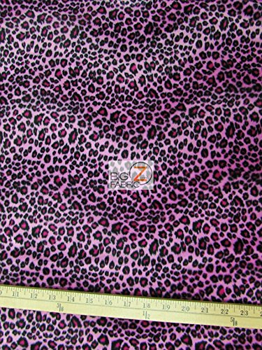 """Velboa Faux Fake Fur Leopard Animal Short Pile Fabric - Pink/Fuchsia - 60"""" Width Sold by The Yard"""