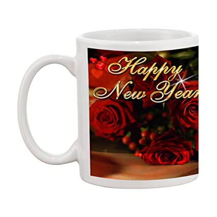 tia creation happy new year with red rose gift coffee mug