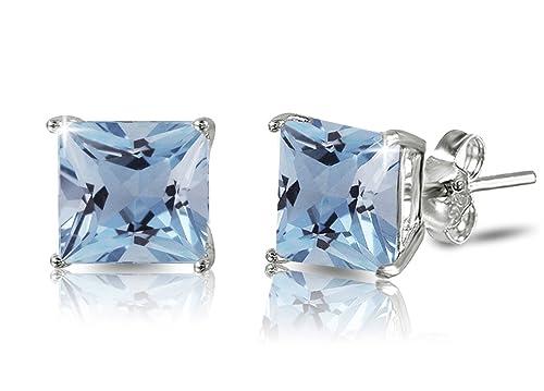 77897b2ec De Lelu Sterling Silver Princess Cut Simulated Aquamarine Cubic Zirconia Stud  Earrings 4MM