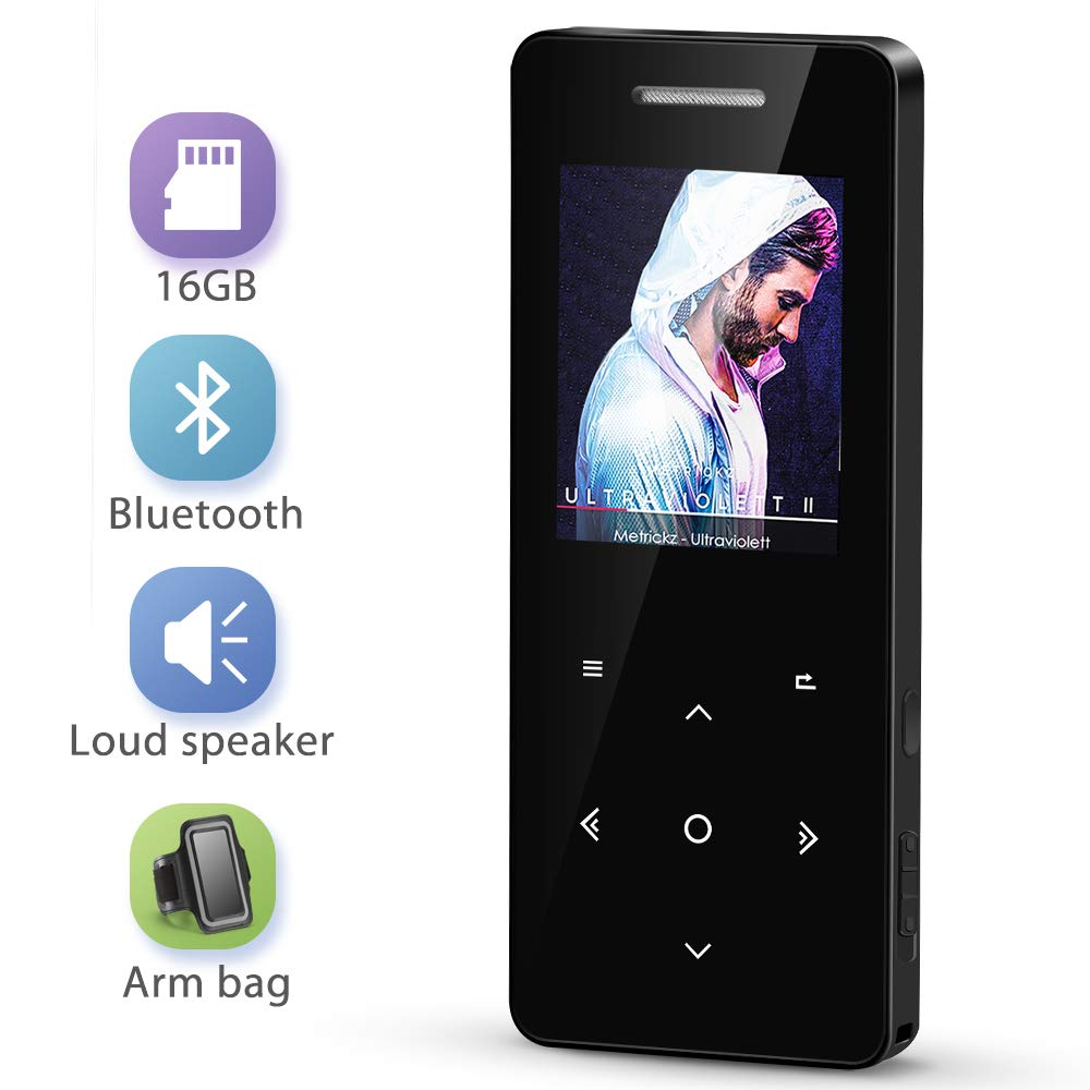 MP3 Player with Bluetooth 4.1, MayBest 16GB Music Player with Speaker, Portable Lossless Digital Audio Player with FM Radio Voice Recorder, Metal Touch Button with Armband, Support up to 128 GB(Black)