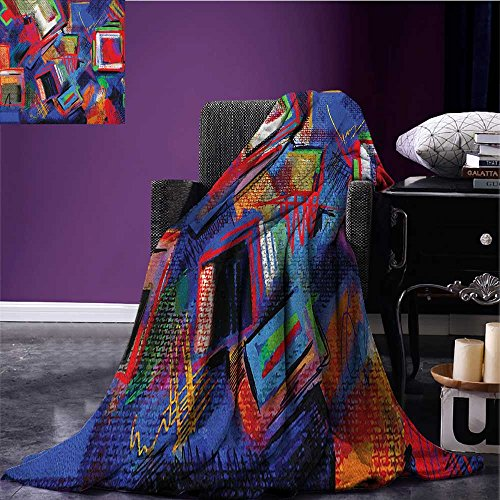 Contemporary picnic blanket Abstract Hand Painted Style Composition Artistic Creativity Modern Grunge Look soft throw blanket Multicolor (Contemporary Painted Bed)