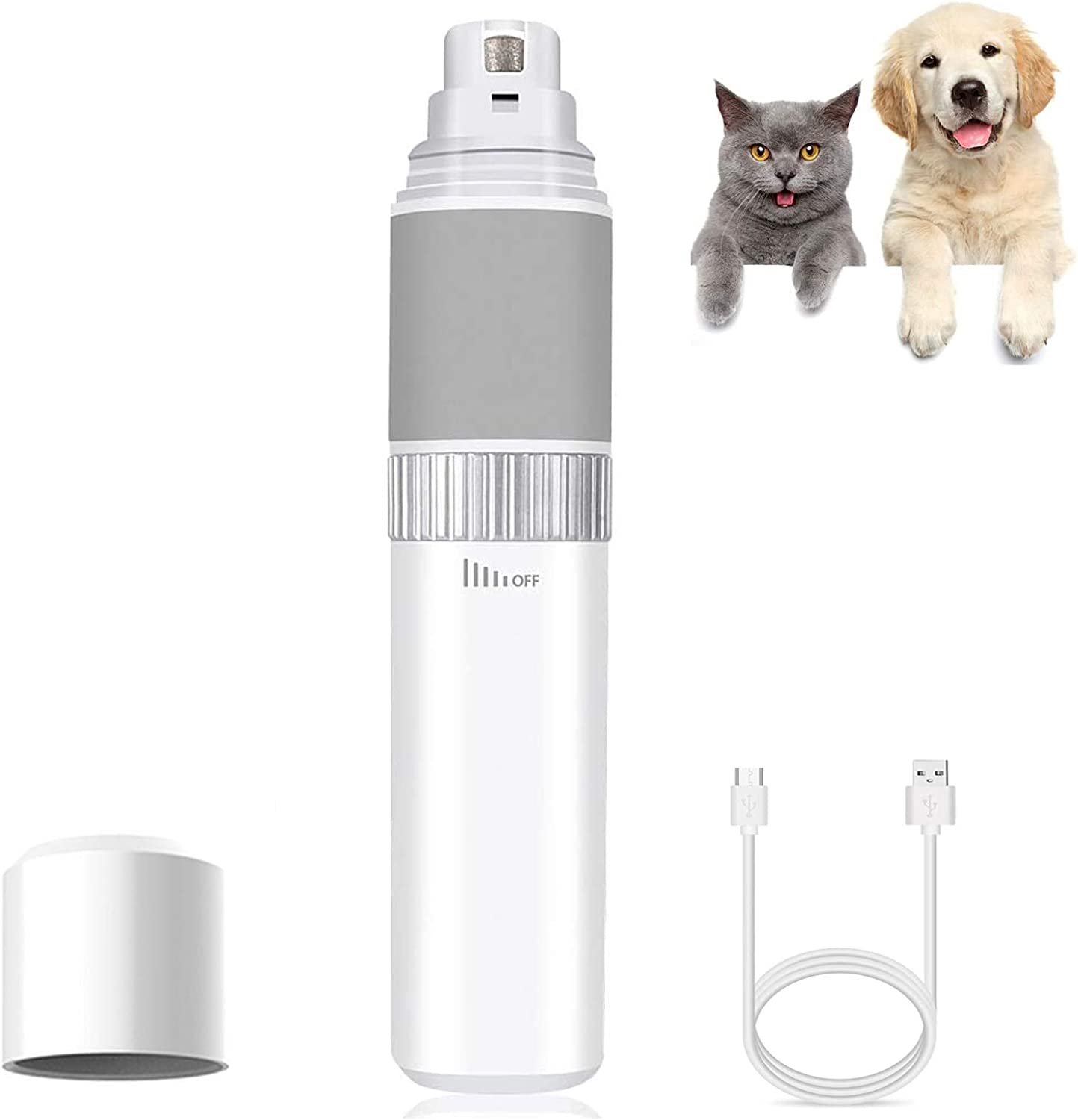 MASALING Nail Clippers for Dogs Premium, Quiet Dog Nail Grinder Stepless Speed Pet Nail Grinder, Professional 7500-PT 5V Nail File for Dogs(White) : Pet Supplies
