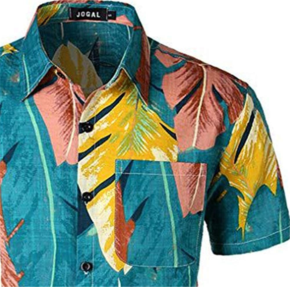 Mens Slim-Fit Printed Cotton Tropical Hawaiian Casual Shirt