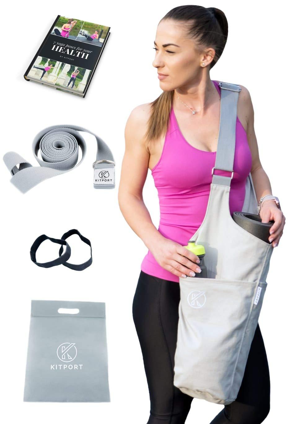Kitport Yoga Mat Bag   Kit Exercises Strap + Polybag + Elastic Mat Bands + eBook   Adjustable Shoulder Strap for Women & Men Tote Sling   360 Large Side & Zipper Pockets Carrier   Fits Most Size Mats