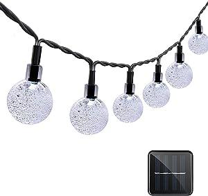 VMANOO Solar String Lights, 20ft 30 LED Solar Globe Lights, Waterproof Crystal Globe Ball Lighting for Outdoor, Patio, Lawn, Garden, Wedding, Holiday Decorations (White)