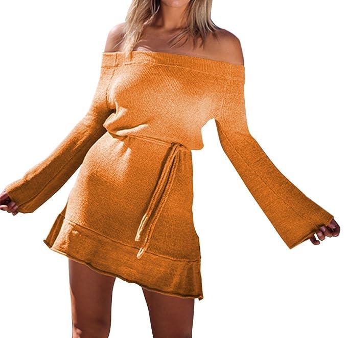 JackenLOVE Otoño y Invierno Mujeres Mini Vestido de Suéter Moda Slim Paquete  de Cadera Vestidos de Partido Fiesta Sexy Cuello Barco Manga Larga Vestido  con ... d11f83ea3bc7