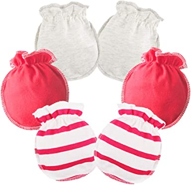 LOVARTS BEAUTY 3 Pack Baby Girl Boy Combed Cotton Gloves Newborn Scratch Mittens Soft Breathable