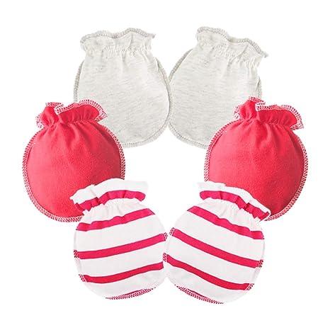 Scrox 3pars Guante dentición bebé Ropa de Bebé Niña de 0 a 3 Meses recién Nacido Invierno Suave Algodón manopla mordedor Bebe Seguridad Bebe