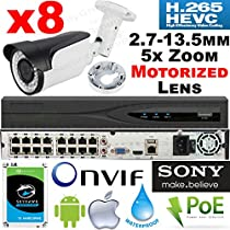 USG MOTORIZED Auto-Focus 2.7-13.5mm 5x Zoom Lens 8 Channel Security Camera System: Ultra 4K 8MP 16 Channel NVR + 8x 2MP 1080P Sony Chip Bullet Camera & Deep Base + 1x 4TB HD : Plug & Play, Phone App
