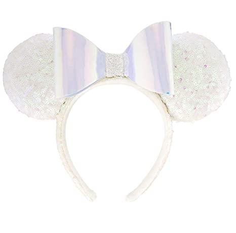 Image Unavailable. Image not available for. Color  Disney Parks Minnie Mouse  White Iridescent Sequin and Bow Ears Headband c019c77ea414