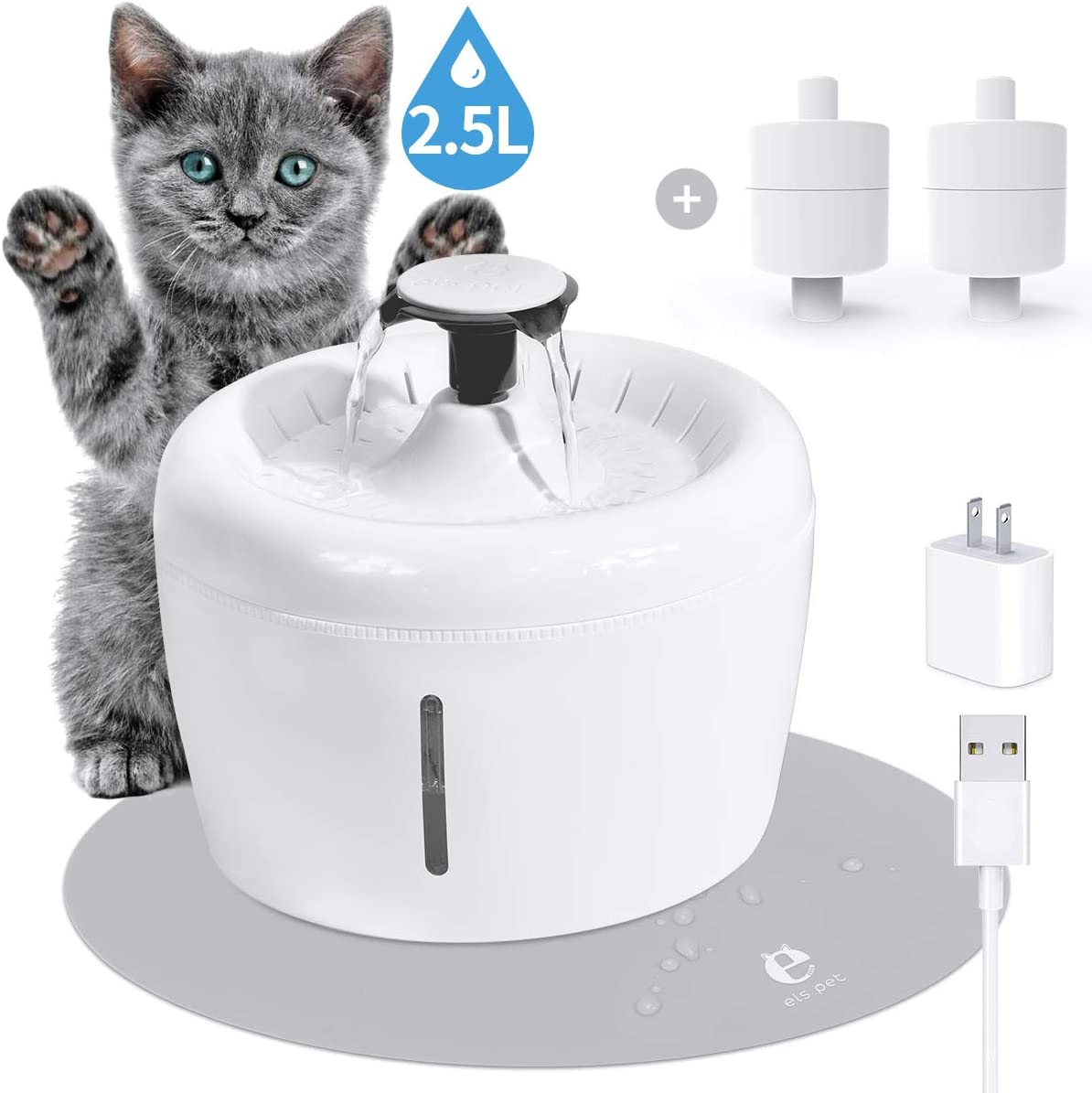 ELSPET Cat Water Fountain 84oz/2.5L Dog Drinking Dispenser, Flowing Fresh Water/Loop Filter/Ultra Silent Pump, Automatic Cat Water Fountain with 3 Pet Fountain Filters/1 Silicone Mat