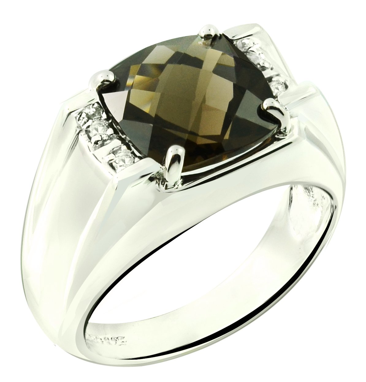 RB Gems Sterling Silver 925 STATEMENT Ring GENUINE GEMSTONE Cushion 10 mm with Rhodium-Plated Finish (11, smoky-quartz)