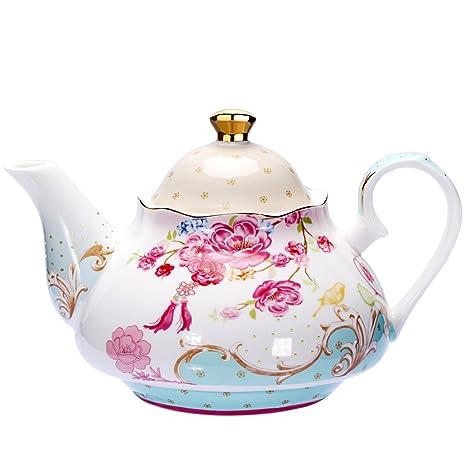 Amazon Com Awhome Tea Pot Bone China Floral Design Vintage 850 Ml