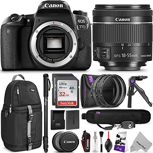 Canon EOS 77D DSLR Camera with 18-55mm Lens w/ Advanced Photo and Travel Bundle by Canon