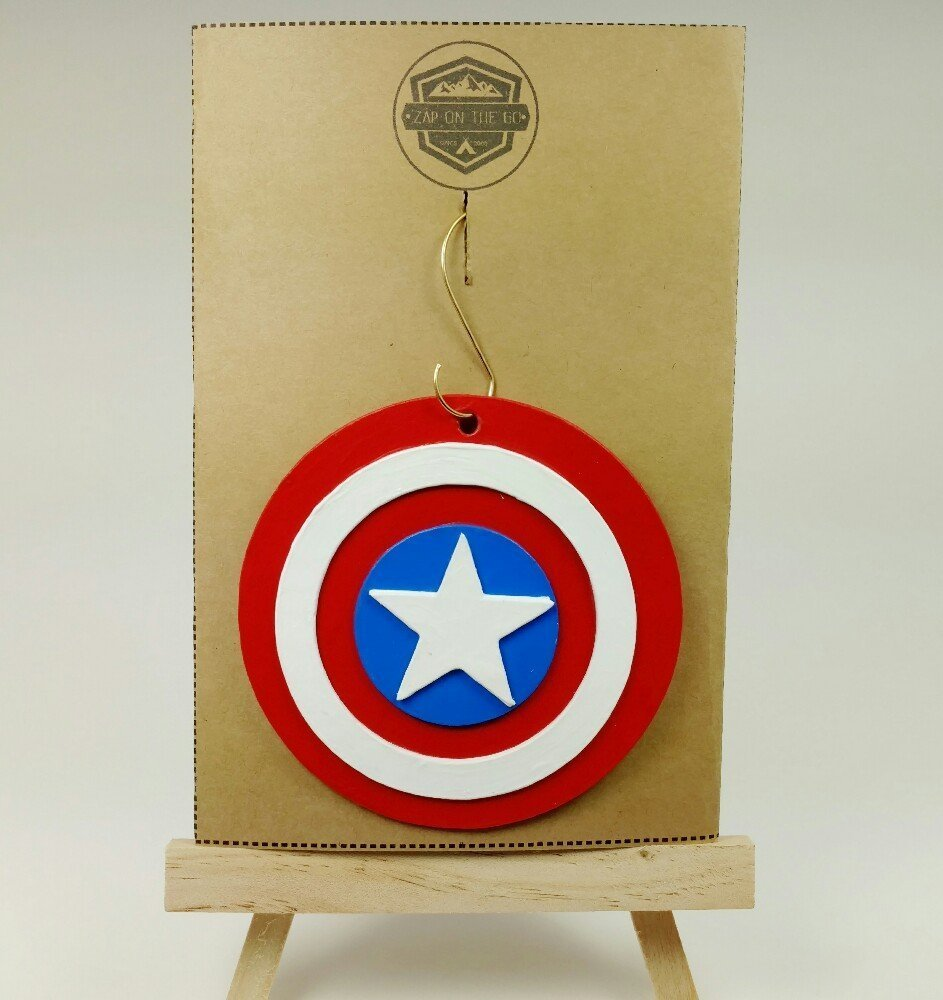 Captain America Ornament | The Avengers | Marvel | Comic Book Gifts | Shield | Rear View Mirror | Secret Santa | Gift Exchange