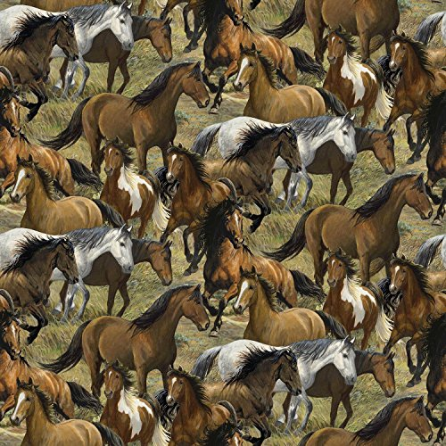 Wild Wings Rhapsody West Packed Horses Multi Fabric By The - Fabric Quilt Horse