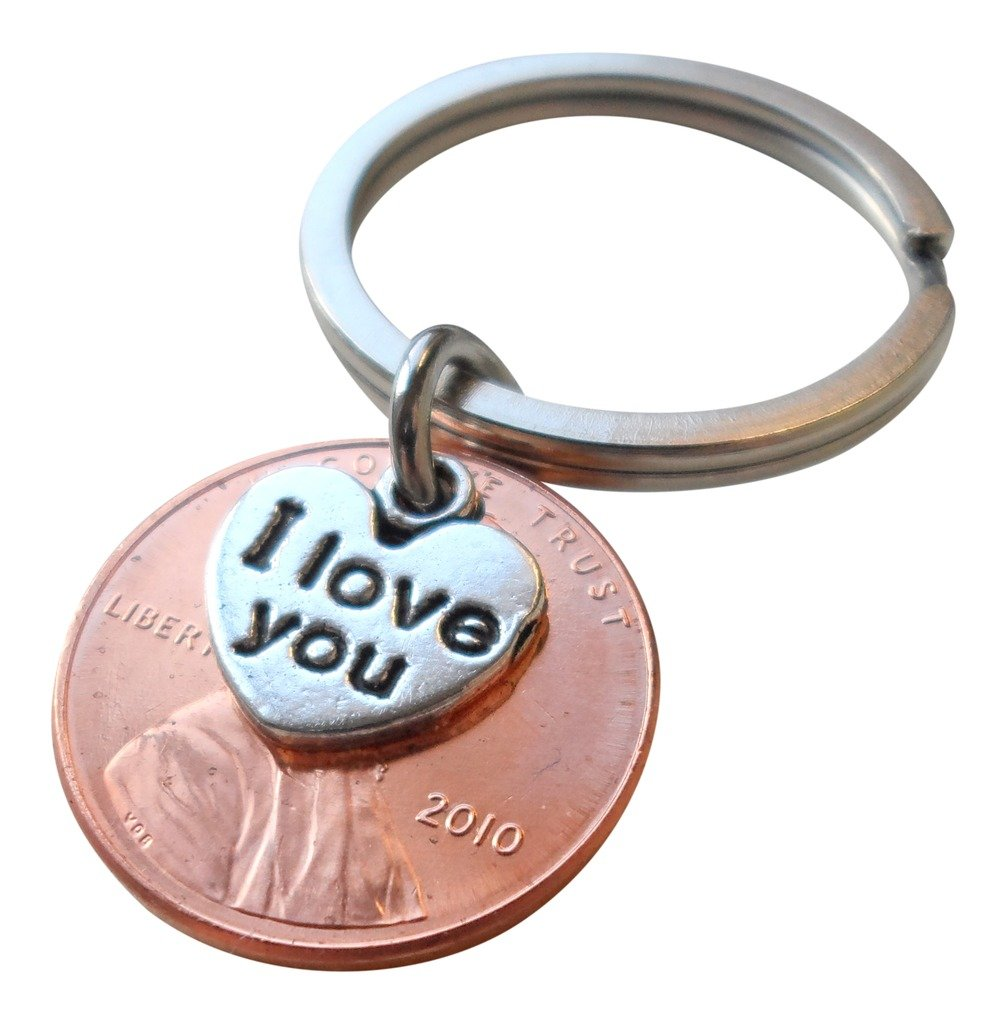 Jewelryeveryday I Love You Heart Charm Layered Over 2010 Us One Cent