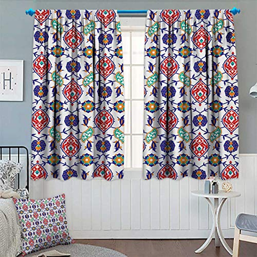 Chaneyhouse Traditional Room Darkening Curtains Classic Ottoman Moroccan Old Fashioned Turkish Mosaic Tiles Ceramic Artwork Decor Curtains by 55
