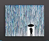 Kissing In The Rain, Melted Crayon Art, Handmade Home Decor, In The Rain Wax Painting 16''x20''