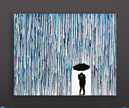 Kissing In The Rain Melted Crayon Art Handmade Home Decor In The Rain Wax Painting 16quotx20quot