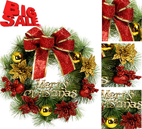 Christmas Wreath Christmas Decorations Poinsettia Pine Needles Bowknot Christmas Garland Door Wall Hang Garlands for Xmas Holiday Party New Year (Red-30)