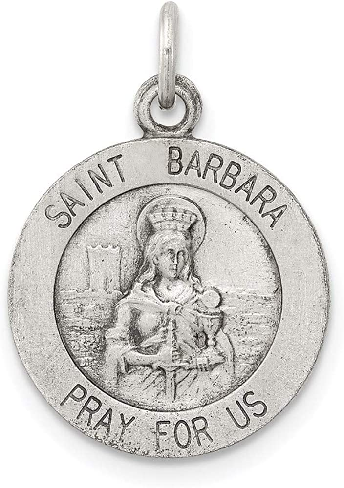 925 Sterling Silver Saint Barbara Medal Pendant Charm Necklace Religious Patron St Fine Jewelry For Women Gifts For Her