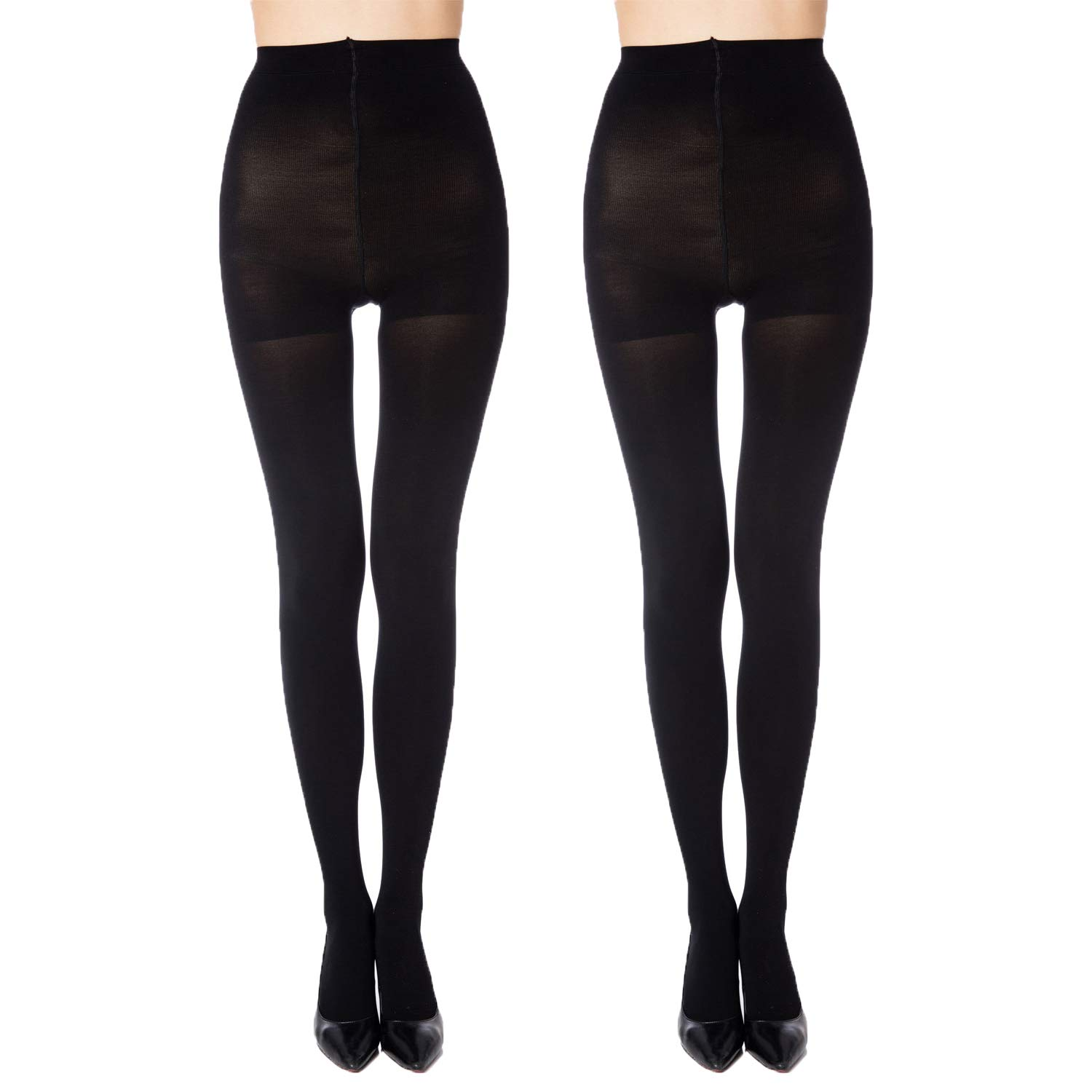 3ea1b78c36e MANZI 2 Pairs Run Resistant Control Top Panty Hose Opaque Tights at Amazon  Women s Clothing store