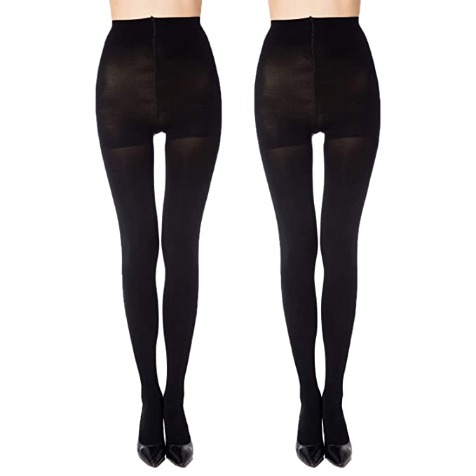 ccb99e6f022 MANZI 2 Pairs Women s Run Resistant Control Top Panty Hose Opaque Tights (Small