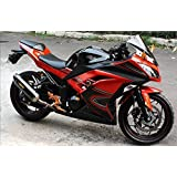 Amazon.com: Moto Onfire Green & Black ABS Injection Fairings ...