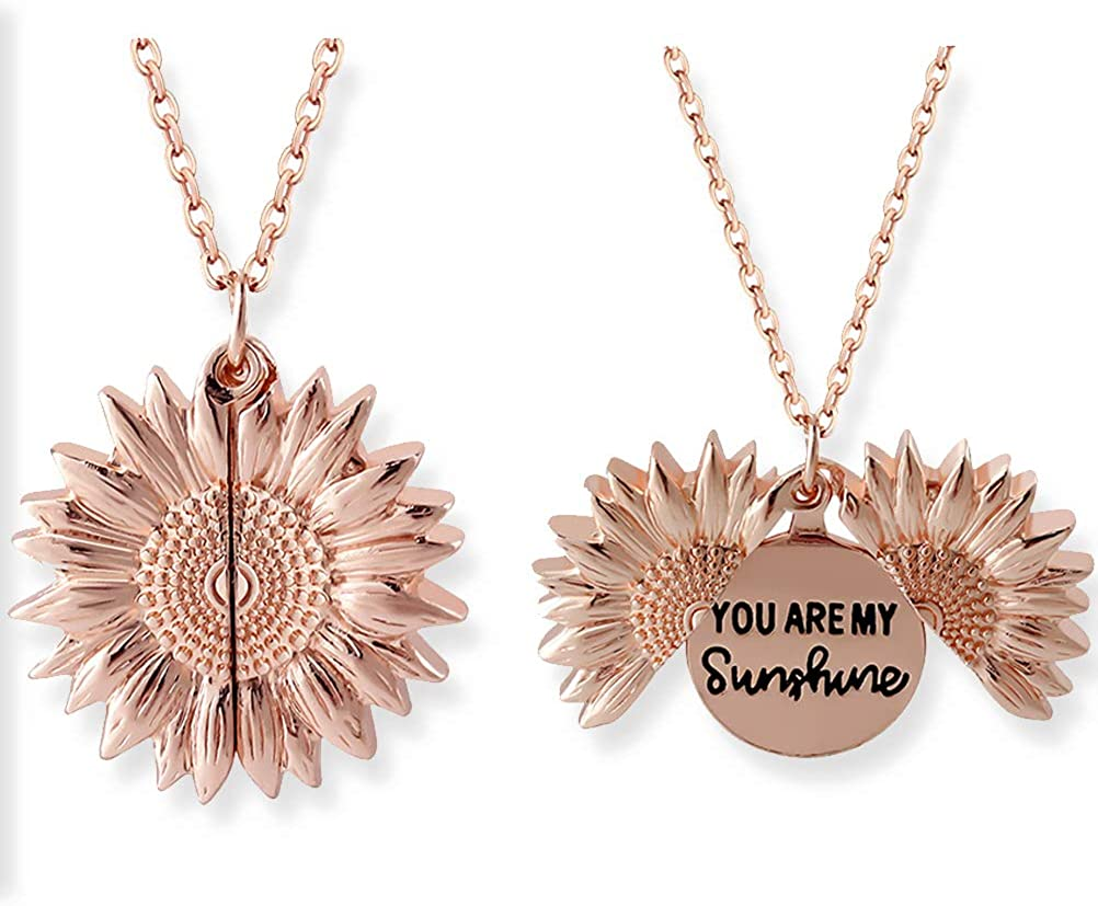 CMMJHU Keep Funking Going Necklace Sunflower Rose Gold Sunflower Necklace You Are My Sunshine Jewellery With Necklaces Sunshine Rose For Pendant You
