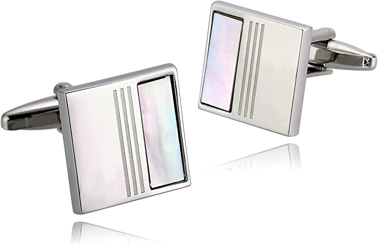 Aooaz Simple Design For Men 6 Style Of Stainless Steel Cufflinks On Wedding Business Shirt With Box
