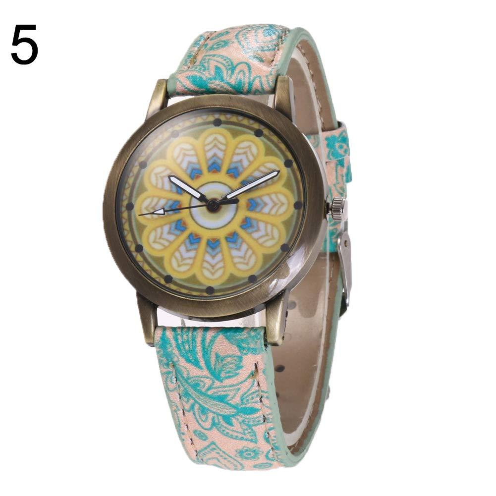 yanbirdfx Bohemia Women Colorful Flower Pattern Round Dial Faux Leather Quartz Wrist Watch - 5#