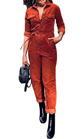 936125cd3a61 Amazon.com  LAJIOJIO Women s Solid Long Sleeve Button Down Jumpsuit Long  Pants Jumpsuit Rompers with Belt  Clothing