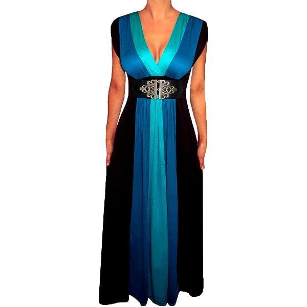 Womens Buckle Maxi Dress Sleeveless Evening Wear lot Plus sizes Grecian