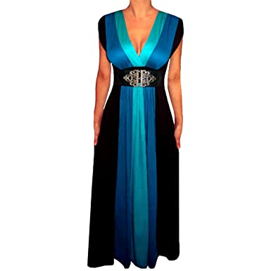 a6a64411b56 Funfash ZB09 Plus Size Women Blue Black Slimming Long Maxi Cruise Dress XL  16